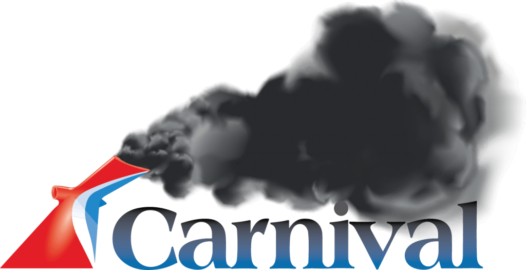 Carnival logo with black smoke coming out of the smokestack.
